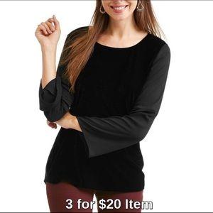 Tops - Velvet Bell Sleeve Blouse in Black